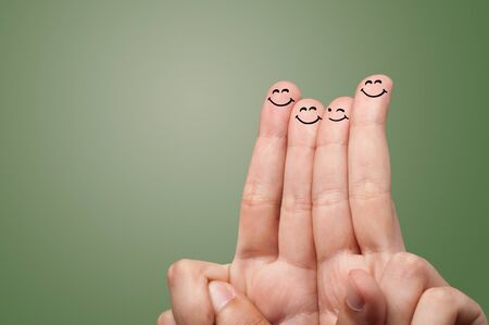 Happy face fingers hugs each other