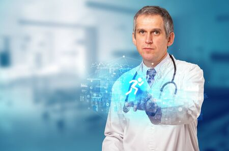 Doctor touching hologram screen displaying healthcare running symbols Zdjęcie Seryjne