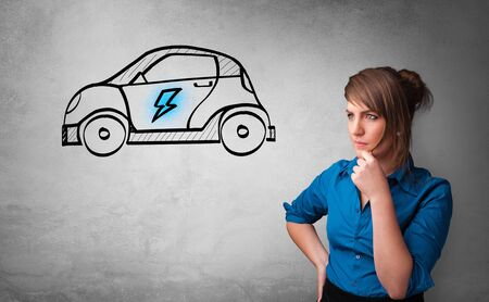 Formal person thinking about electric car concept Stock fotó