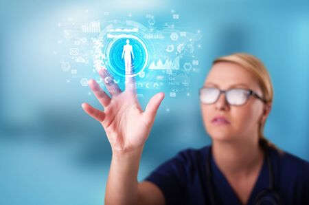 Doctor touching hologram screen displaying medical symbols and charts Stok Fotoğraf
