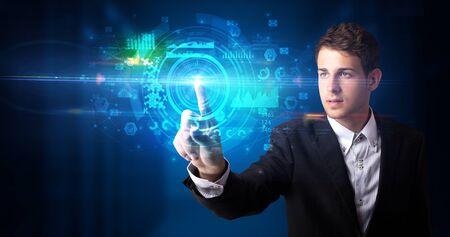 Man touching hologram screen displaying medical symbols and charts