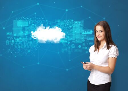 Young smiling person presenting cloud technology concept 스톡 콘텐츠