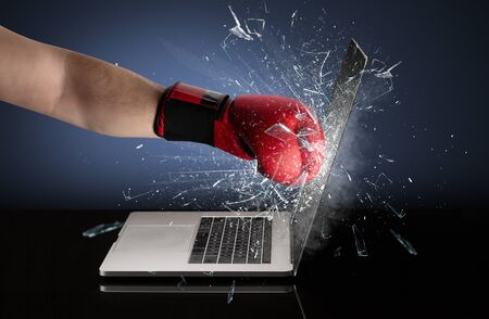 Strong arm boxing laptop screen strongly 스톡 콘텐츠