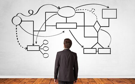 A salesman in doubt looking for solution on a white wall with organizational chart Imagens