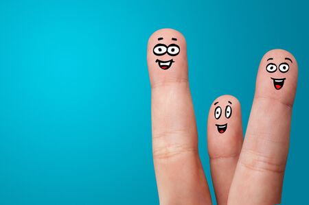 Happy face fingers hug each other Stockfoto