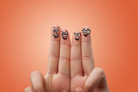 Smart looking fingers smiling and hugging