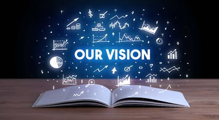 OUR VISION inscription coming out from an open book, business concept