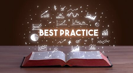 BEST PRACTICE inscription coming out from an open book, business concept Stockfoto