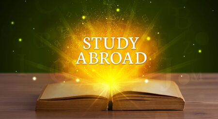STUDY ABROAD inscription coming out from an open book, educational concept Stockfoto