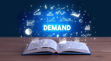 DEMAND inscription coming out from an open book, business concept