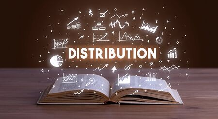DISTRIBUTION inscription coming out from an open book, business concept Stockfoto