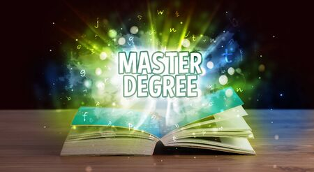 MASTER DEGREE inscription coming out from an open book, educational concept