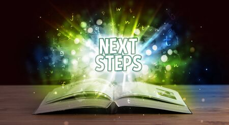 NEXT STEPS inscription coming out from an open book, educational concept