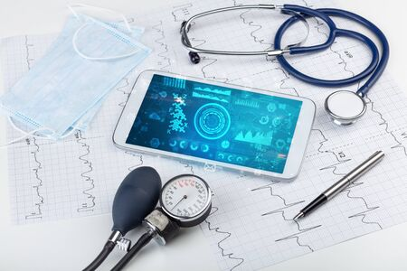 Report and cell composition concept with modern medical technology Stok Fotoğraf