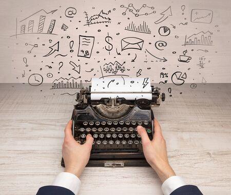 Typewriter with doodles, idea, message, plane, car balloon social media concept Banco de Imagens