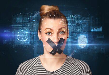 Biometric verification - face and fingerprint detection concept Banque d'images - 130071025