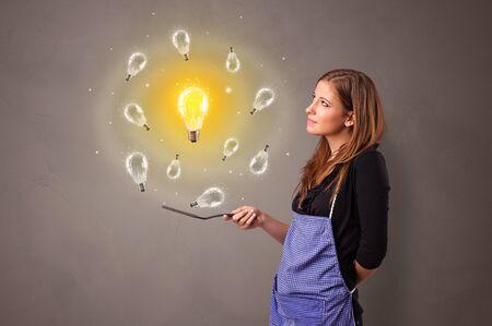 Smiling person cooking new idea concept Фото со стока