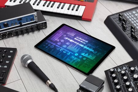 Electronic music instruments, microphone, piano, consoles and tablet with reports concept