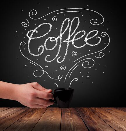 Steaming cup of coffee with white doodle line art and coffee inscription