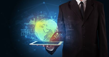Hand holding tablet with global database concept Banque d'images - 130068410