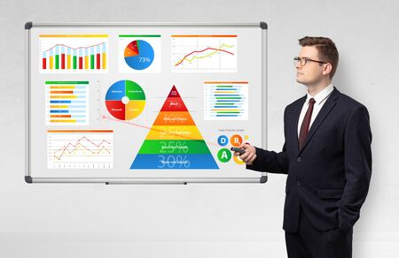 Handsome businessman presenting health reports on white board with laser pointer 版權商用圖片