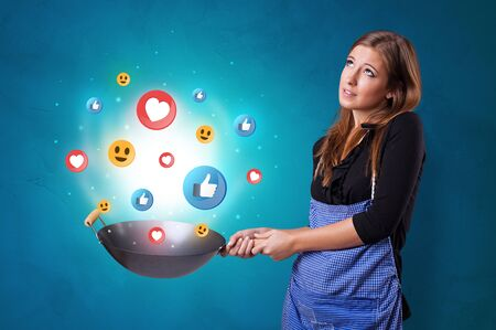 Young happy person cooking social media concept in wok