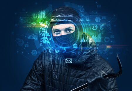 Biometric identification and Facial recognition system concept. Banque d'images - 130068386