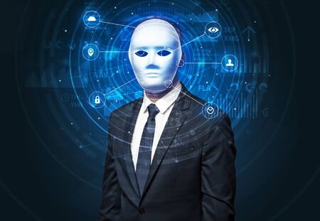 Facial recognition biometric technology and artificial intelligence concept. Banque d'images - 130068324