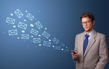 Businessman using phone with online communication concept around