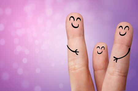 Joyful fingers smiling with colorful background concept Foto de archivo - 132204299