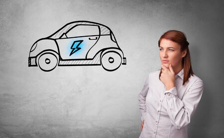 Formal person thinking about electric car concept