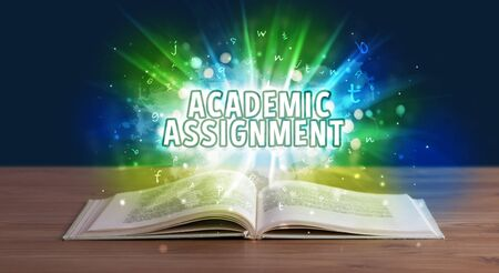 ACADEMIC ASSIGNMENT  inscription coming out from an open book, educational concept