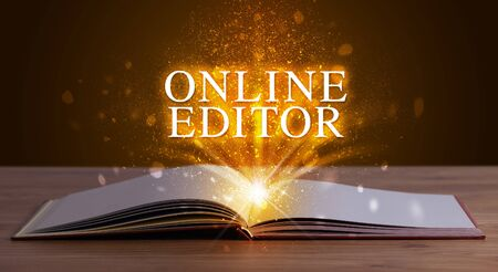 ONLINE EDITOR inscription coming out from an open book, educational concept