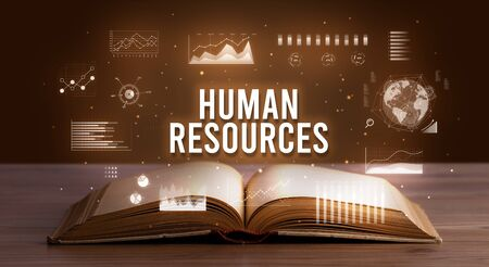 HUMAN RESOURCES inscription coming out from an open book, creative business concept