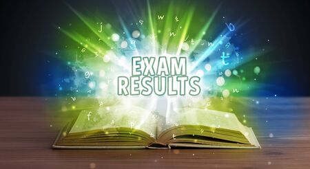 EXAM RESULTS inscription coming out from an open book, educational concept