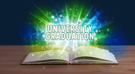 UNIVERSITY GRADUATION inscription coming out from an open book, educational concept