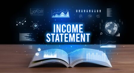 INCOME STATEMENT inscription coming out from an open book, creative business concept