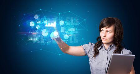 Woman accessing modern hologram personal database with fingerprint identification Stock fotó