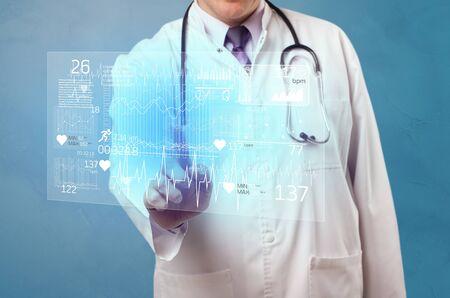 Doctor touching hologram screen displaying healthcare running symbols Stock fotó