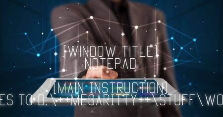 Young business person working on tablet and shows the digital sign: Window Title Notepad Main Instruction Do you want to save changes to D: MEGARITTY stuff words security 2words.txt Save Dont Save Cancel Banco de Imagens