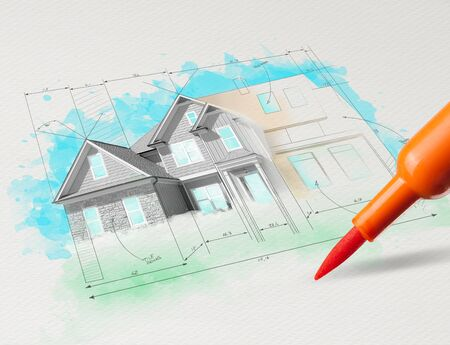 Drawing colored house plan concept