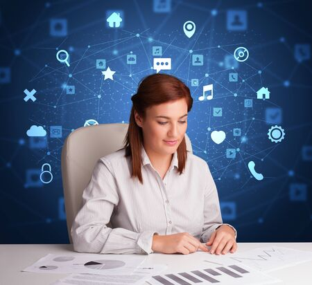 Secretary work with office and multitask concept Reklamní fotografie - 133079968