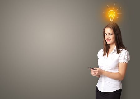 Young smiling person presenting new idea concept