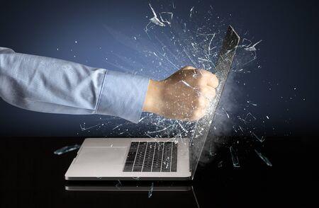 Strong arm boxing laptop screen strongly Stok Fotoğraf