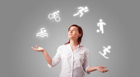 Jeune étudiant jongle avec le concept sportif