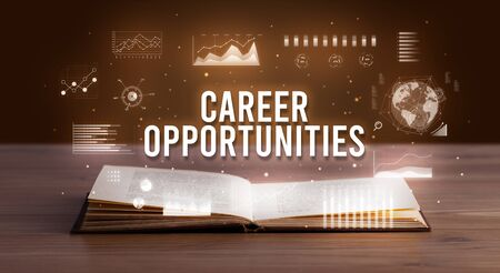 CAREER OPPORTUNITIES inscription coming out from an open book, creative business concept