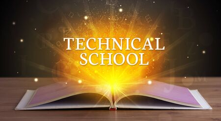 TECHNICAL SCHOOL inscription coming out from an open book, educational concept