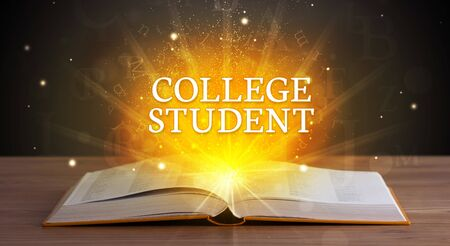 COLLEGE STUDENT inscription coming out from an open book, educational concept