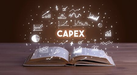 CAPEX inscription coming out from an open book, business concept