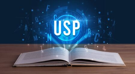 USP inscription coming out from an open book, digital technology concept Stock fotó - 133388648